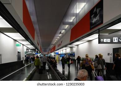 VIENNA, AUSTRIA - March 16, 2018: Interior of the Vienna International Airport, Unidentified people