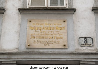 VIENNA, AUSTRIA - MARCH 16, 2019: Sign of the Mozarthaus in Vienna, Mozart's residence from 1784 to 1787 and it is a museum now