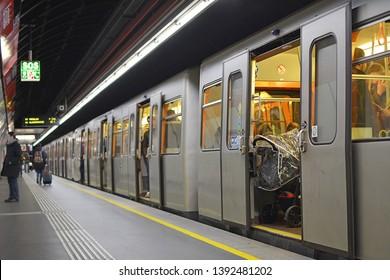 "VIENNA, AUSTRIA - MARCH 16, 2019 - An old metro ""U"" type train on the Wien U-Bahn metro system"