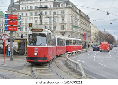 VIENNA, AUSTRIA - MARCH 16, 2019 - An old tram, operated by Wiener Linien, at Schottentor in the city centre