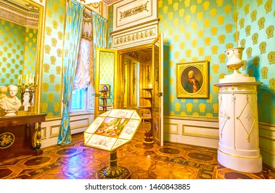 VIENNA, AUSTRIA - MARCH 2, 2019: The beautiful Golden Cabinet of Albertina Palace with vintage furniture and outstanding patterned parquet, on March 2 in Vienna