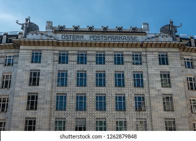 Vienna, Austria - March, 2017: Austrian Postal Savings Bank building called Osterreichische Postsparkasse designed by architect Otto Wagner in Secession Style.