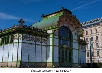 VIENNA, AUSTRIA - MARCH, 2017: Detail of Otto Wagner Pavillion at Karlsplatz. It is a former train station, designed by the famous Austrian architect Otto Wagner, completed in 1898.