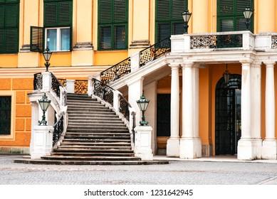 Vienna, Austria, March 2018, Schönbrunn Castle. Very beautiful Schönbrunn castle with wrought iron stairs in the Austrian city of Vienna on a sunny spring day