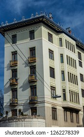 """VIENNA/ AUSTRIA MARCH 2018 - The famous House """"Rüdigerhof"""", located along the Wienzeile, designed by Otto Wagner"""