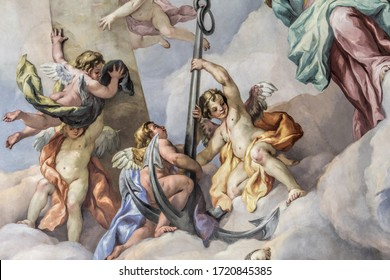 Vienna, Austria - March 22, 2014: Details of the Dome fresco in the Karlskirche (St. Charles's Church).