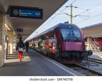 Vienna , Austria , March 26, 2014 . Train preparing to depart .