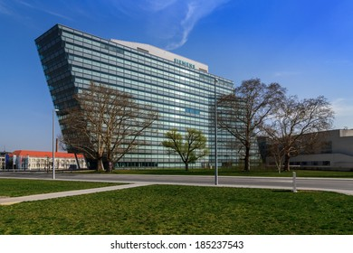 VIENNA, AUSTRIA - March 30, 2014:  Main building of Austrian company headquarters of Siemens AG. Siemens City is a campus-like complex with space for 6000 employees.
