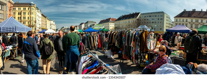 Vienna, Austria - MARCH 30, 2019: Every Saturday is a flea market at Naschmarkt area in Vienna. Local people and lots of tourists visit the market and looking for bargains and antique stuff.