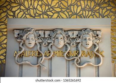 VIENNA/ AUSTRIA MARCH 30, 2019: Facade of The Secession Building (Wiener Secessionsgebaude) - exhibition hall built in 1897 by Joseph Maria Olbrich as architectural manifesto for Vienna Secession.