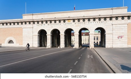 VIENNA, AUSTRIA - MARCH 9, 2011: exterior of outer castle gate (Burgtor) from Ringstrasse in Vienna city in sunny day.The gate of Hofburg area was erected in 1818