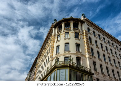 Vienna, Austria - March11, 2018: Majolikahaus, Majolica House apartment house designed by architect Otto Wagner in Secession Style
