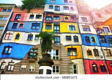 VIENNA, AUSTRIA - MAY 01, 2014: Colorful facade of the a House with sunlight. Vienna, Austria