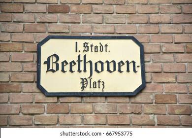 VIENNA, AUSTRIA - MAY 02, 2016 : Beethoven Platz plate in Vienna, Austria