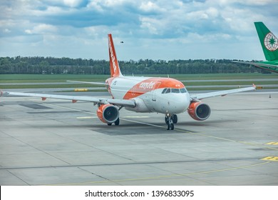 Vienna, Austria - May 07, 2019: EasyJet Europe Airbus A319. EasyJet Europe Airline GmbH, styled as easyJet, is a low-cost airline based in Vienna, Austria and a subsidiary of easyJet