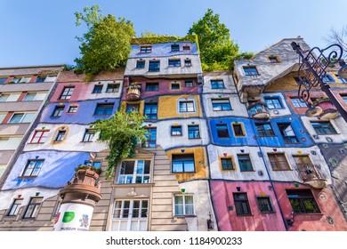 Vienna, Austria - May 12 2018: Hundertwasser haus