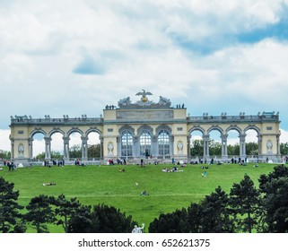 VIENNA, AUSTRIA - MAY 12 : Unidentified tourists looking around and sightseeing the Gloriette at the hill behind Schonbrunn palace on May 12, 2017 at Vienna, Austria.