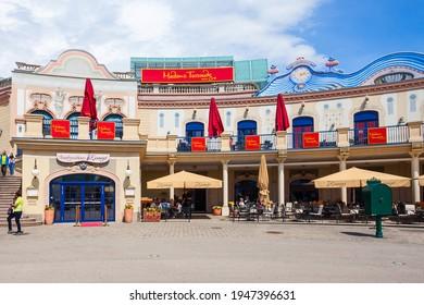 VIENNA, AUSTRIA - MAY 13, 2017: Madame Tussauds Museum is a major tourist attraction in Vienna, Ausria. Madame Tussauds Museum is located in the Prater public park.