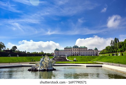 Vienna, Austria - May 17, 2019 : Baroque palace Belvedere is a historic building complex in Vienna, Austria, consisting of two Baroque palaces with a beautiful garden between them.