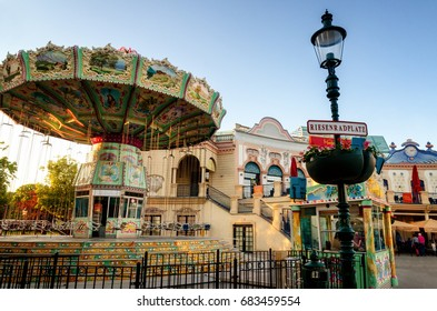 VIENNA, AUSTRIA - MAY 18, 2017: old painted merry-go-round attraction in riesenradplatz, main square of the Prater in Vienna (Austria) on may 18, 2017