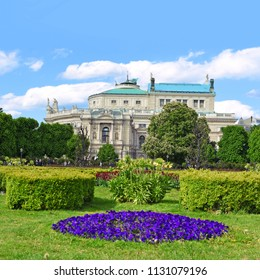Vienna, Austria- May 2, 2017: The city's attractions. Volksgarten. View of Burgtheater, the Austrian National Theater.