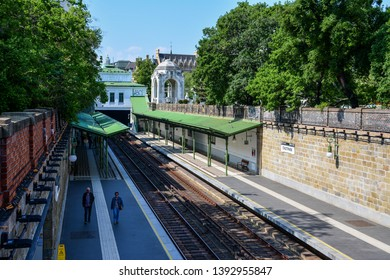Vienna / Austria — May 2, 2019: Stadtpark U-Bahn station of the U4 line of Vienna subway. The metro line was built on the infrastructure of Wiener Stadtbahn built by Otto Wagner