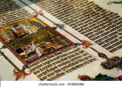 VIENNA, AUSTRIA - MAY 20, 2017: Ancient tome with miniature in Austrian National Library, Vienna, on may 20, 2017