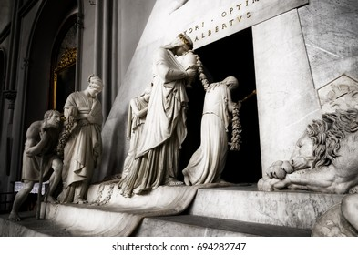 VIENNA, AUSTRIA - MAY 20, 2017: memorial cenotaph of archduchess Maria Christina of Austria in Augustin Church, Vienna, on may 20, 2017. The monument was made by Antonio Canova