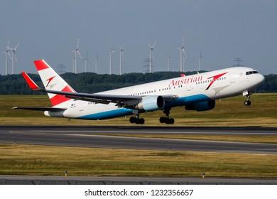VIENNA / AUSTRIA - MAY 20, 2018: Austrian Airlines Boeing 767-300ER OE-LAX passenger plane departure from Vienna International Airport