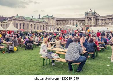 VIENNA, AUSTRIA, MAY, 2013: celebrations in Hofburg Imperial Palace park Vienna, Austria