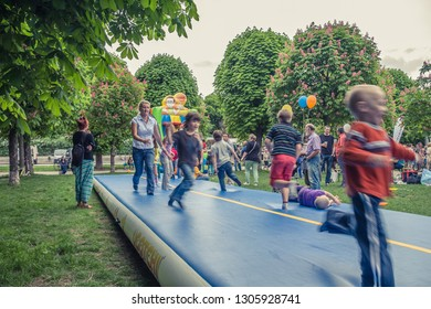 VIENNA, AUSTRIA, MAY, 2013: celebrations in Hofburg Imperial Palace park Vienna, Austria. Playing area for children.
