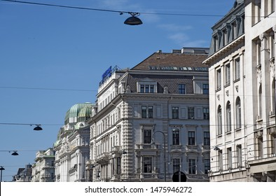 VIENNA, AUSTRIA - MAY, 2019: facade of buildings in classical style at the 1. Wiener Gemeindebezirk in downtown of Vienna