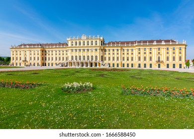 Vienna, Austria - May 2019: Schonbrunn palace and gardens in spring