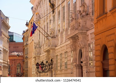 VIENNA, AUSTRIA - MAY, 22: The Winter Palace of Prince Eugene also known as the City Palace is a high-Baroque palace in the Innere Stadt district of Vienna, Austria on May 22, 2018