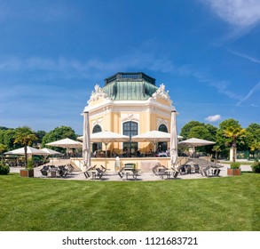 VIENNA, AUSTRIA - MAY 23, 2018: The Cafe Restaurant Kaiserpavillon was built in 1759, is located in the heart of the Tiergarten Schönbrunn and still offers imperial flair to their guests.