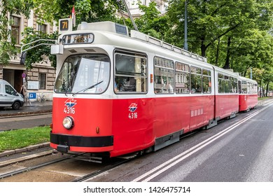 Vienna, Austria - May 23, 2019: A Lohner E1 tram approaching a tramway stop