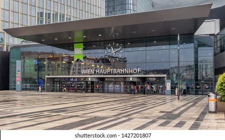 Vienna, Austria - May 23, 2019: Main railway station of Vienna (Wien Hauptbahnhof) Austrian railways (OBB) in Vienna, Austria