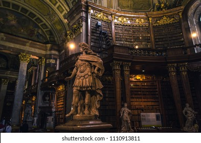 Vienna/ Austria - May 24 2018:  Interior of the State Hall of the Austrian National Library.