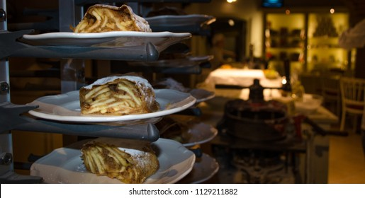 Vienna, Austria - May 24 2018: Viennese strudel in cafe at Shoenbrunn Palace. Strudel show.