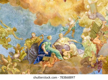 Vienna, Austria - May 25, 2010: Ceiling Fresco (1730) in the Famous Prunksaal or State Hall of the Austrian National Library in the Hofburg in Vienna, Austria