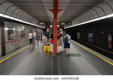 Vienna, Austria – May 25, 2019: Metro Station in Vienna, Austria, Europe