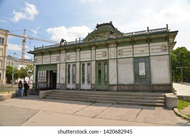 Vienna, Austria – May 25, 2019: Metro Station, U Bahn, Karlsplatz and Otto-Wagner-Pavillon in Vienna, Austria, Europe