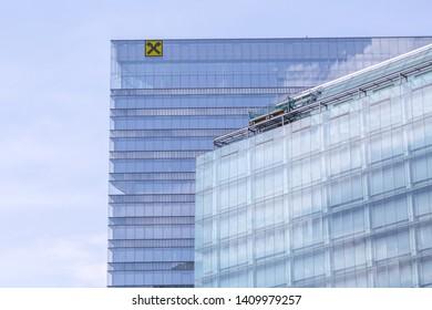 VIENNA, AUSTRIA - MAY 25: Glass facades of buildings of Raiffeisen-Holding NÖ-Wien, Raiffeisenlandesbank Niederösterreich-Wien AG and Raiffeisen Media GmbH in Vienna, on May 25, 2019.