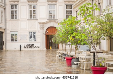 VIENNA, AUSTRIA. May 26, 2015. Judenplatz, town's square in the central Vienna with Judenplatz Holocaust Memorial, also known as the Nameless Library.