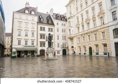 VIENNA, AUSTRIA. May 26, 2015. Judenplatz, town's square in the central Vienna with Judenplatz Holocaust Memorial.
