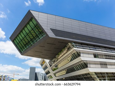 Vienna, Austria – May 26, 2017. The new campus of the University of Economics Vienna was opened in 2013. The building of the Library and Learning Center was created by the architect Zaha Hadid.