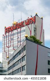 VIENNA, AUSTRIA - MAY 27, 2016: Spittelau waste incineration and district heating plant by Hundertwasser, Vienna, Austria