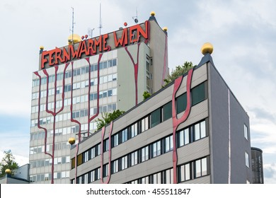VIENNA, AUSTRIA - MAY 27, 2016: Spittelau waste incineration and district heating plant by Hundertwasser, Vienna, Austria