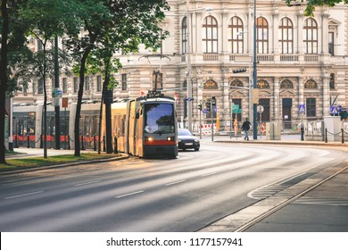 Vienna, Austria- May 27, 2018 : Old fashioned tram goes by the street of Vienna. Vienna is a capital and largest city of Austria.