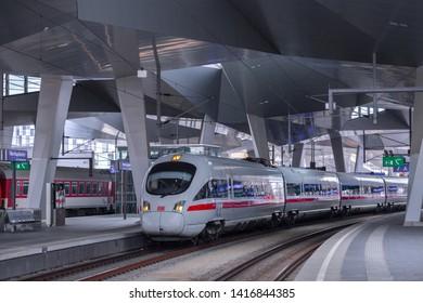 VIENNA, AUSTRIA - MAY 27: The Intercity-Express  Deutsche Bahn ICE train on main railway station of Vienna (Wien Hauptbahnhof) Austrian railways (OBB), in Vienna, Austria, on May 27, 2019.
